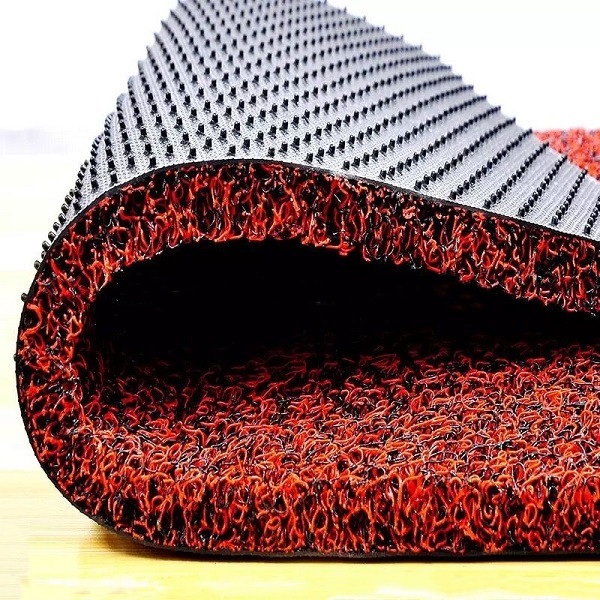 Spaghetti pvc coil car mat with spike backing In Rolls