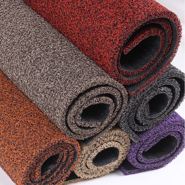 best price non slip pvc coil rugs carpets with plastic backing foot mat