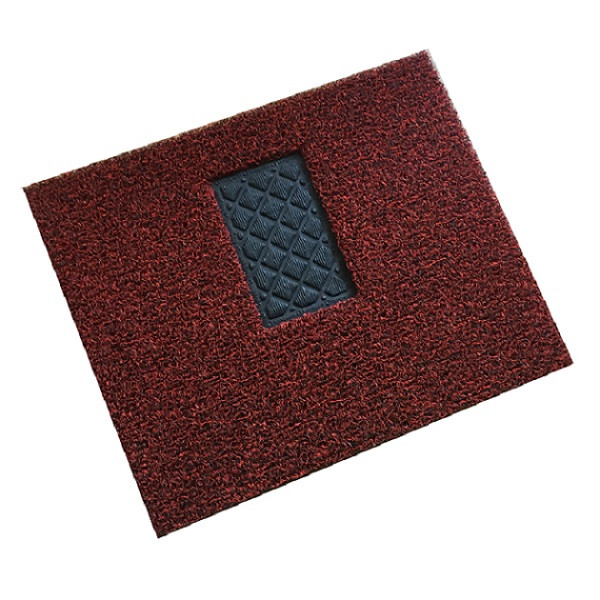 Double color pvc coil car mat with non skid nail backing